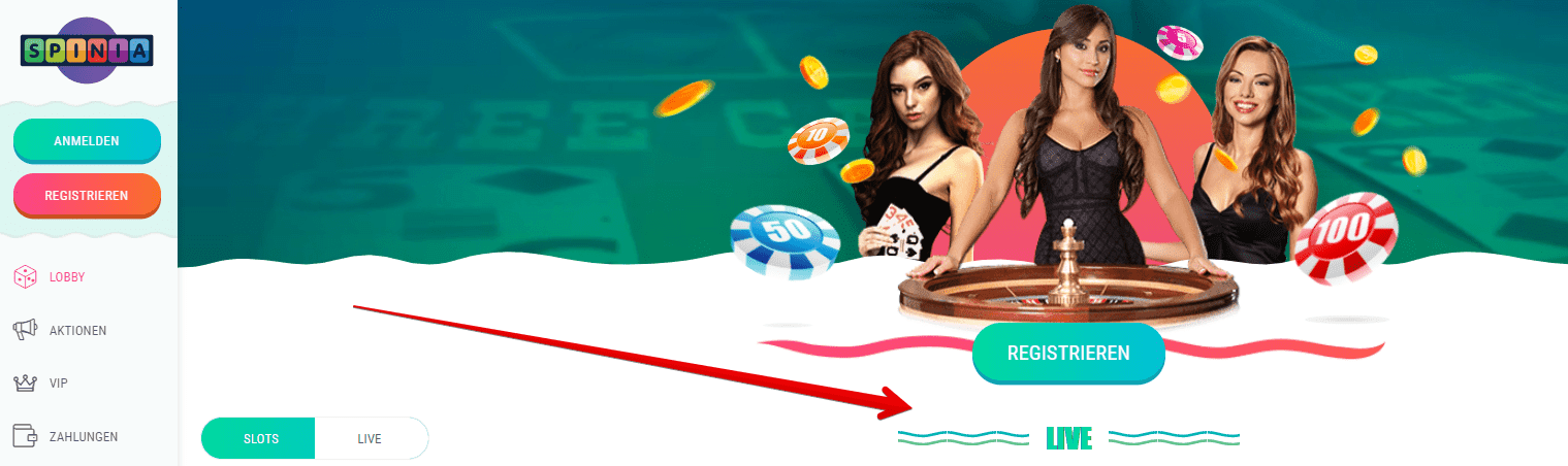 Live Dealer Spiele Online Casino Spinia